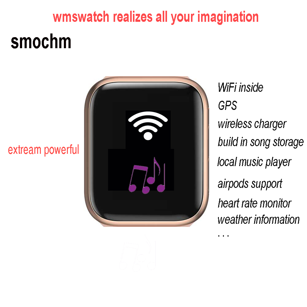 Smochm Wmswatch IWO 16, Wi-Fi, GPS и MP3 музыки 1G для хранения бит наушники-вкладыши TWS с наушники Беспроводной Зарядное устройство Водонепроницаемый спорти...