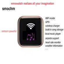 Smochm wmswatch iwo 16 wifi gps mp3 música 1g bit tws armazenamento fone de ouvido carregador sem fio à prova dwaterproof água esportes bluetooth relógio inteligente