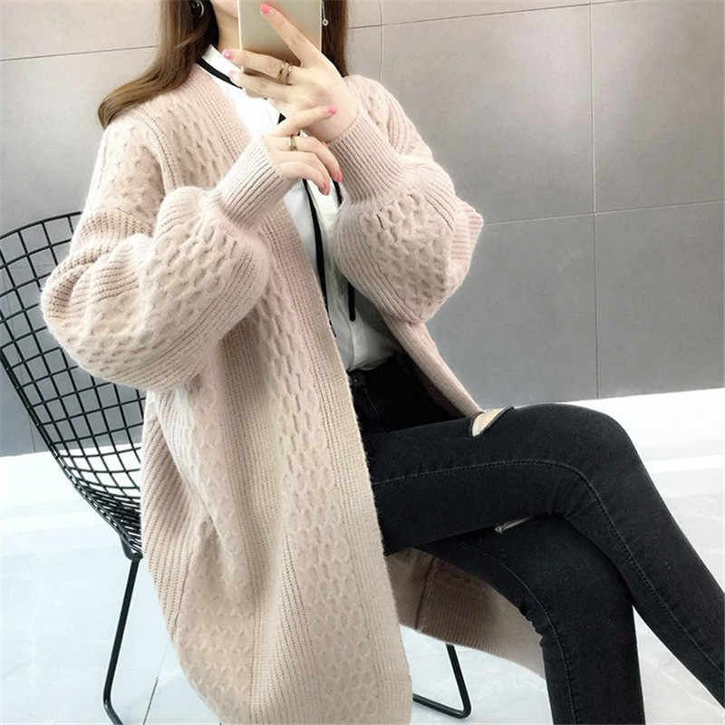 Women Knit Sweater Autumn Cozy Blue Red Black Cardigan Lantern Sleeve Open Stitch Casual Sweater Girls Invierno Loose Cardigan