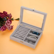 New 8 Booths/2 Layer Velvet Gray Carrying Case Clear Glass Lid Jewelry Ring Display Tray Holder Storage Box Organizer(China)