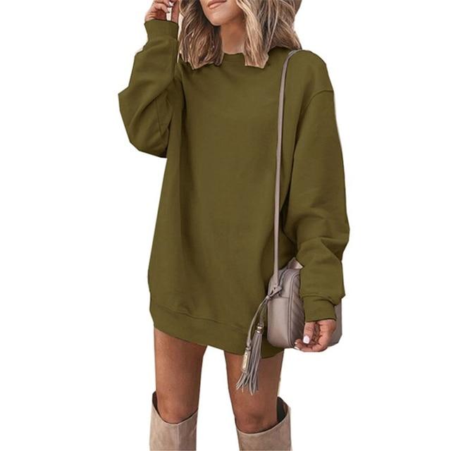 CUHAKCI Fashion Women Sweatshirt Dress Long Sleeve Jumper Autumn Casual Pullover Round Neck Ladies Solid Vestidos Plus Size 2