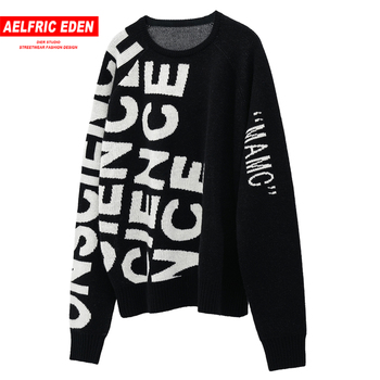 Aelfric Eden Vintage Letter Knitted Men Gothic Sweater Harajuku Hip Hop Tops 2019 Winter Fashion Streetwear Casual Male Pullover
