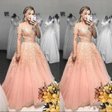 Lace Quinceanera Dresses Sweet 16 Year Dresses Off The Shoulder Capped Sleeves Appliques Beaded Sheer Prom Dresses For Party(China)