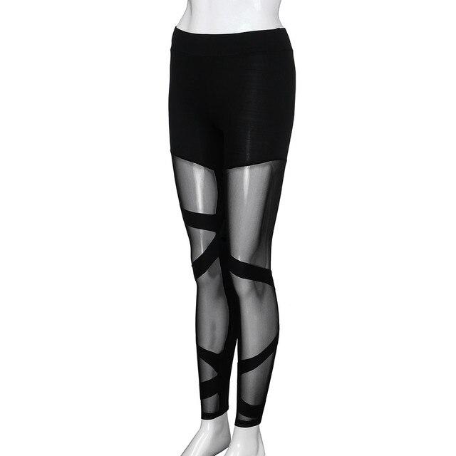 Mesh Print Leggings Sport Women Fitness Trousers Women Black White Striped Jacquard Hip Running Fitness Jeggings Pants 5