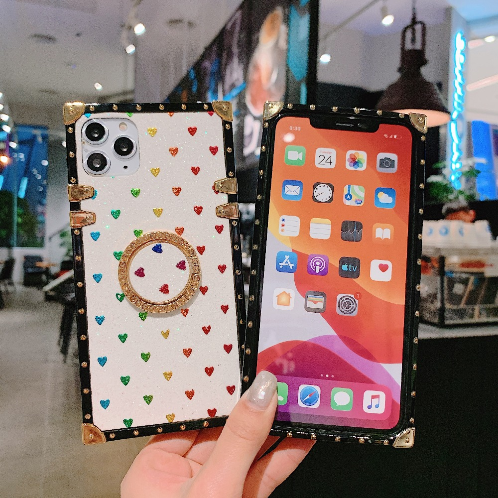 Cases For iPhone 11 Pro Max Xr Xs Max Coque Square Diamond Stand Love Heart Bling Sequins Case For iPhone X 6 6S 7 8 Plus Cover (12)