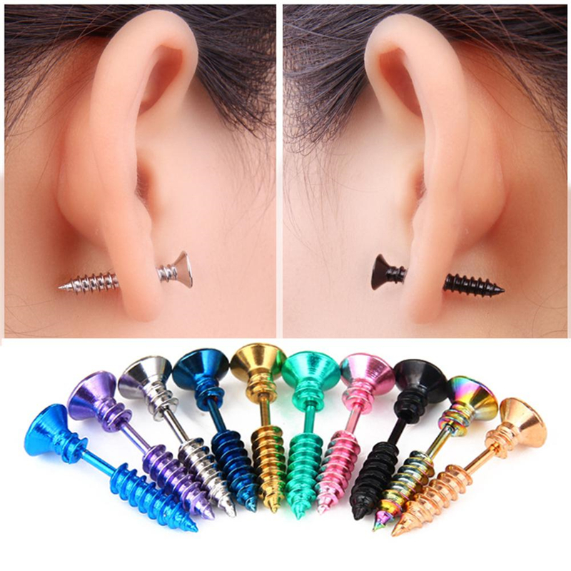 1 Pair Unisex Stainless Steel Piercing Nail Screw Stud Earrings Women Men Earrings Punk Helix Ear Piercings Hip Hop Jewelry