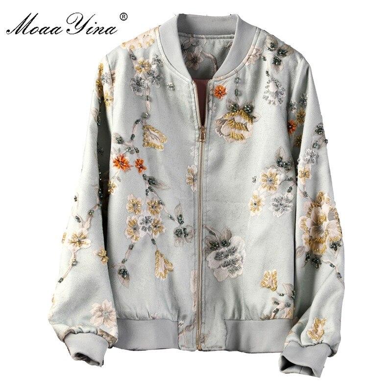 MoaaYina High Quality Fashion Jacket jacket Autumn Winter Women Vintage Floral Beading Elegant Short