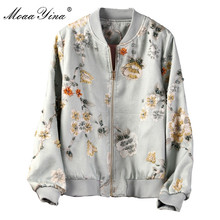 MoaaYina High Quality Fashion Jacket jacket Autumn Winter Women Vintage Floral Beading Elegant Short