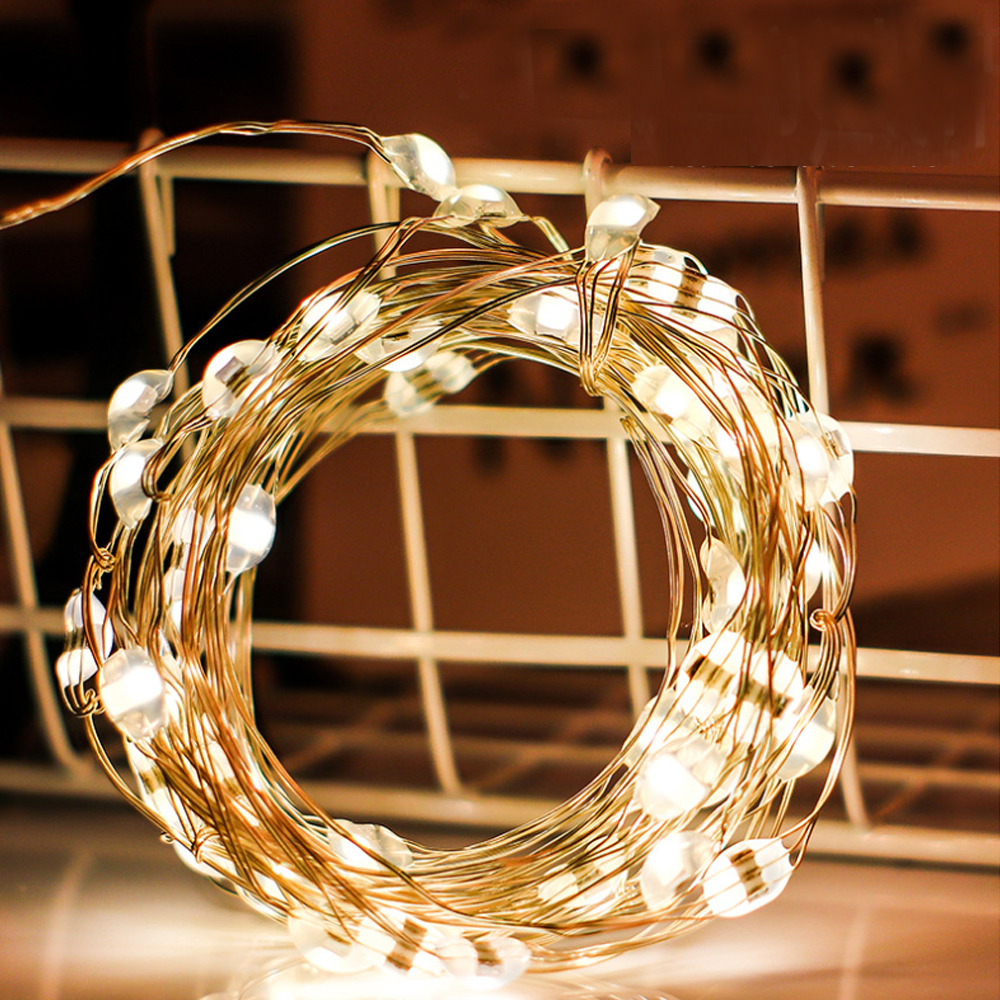 LED String Lights 10M 5M 2M Silver Copper Wire Garland Home Christmas Wedding Party Decoration Powered Battery By 5V Fairy Light