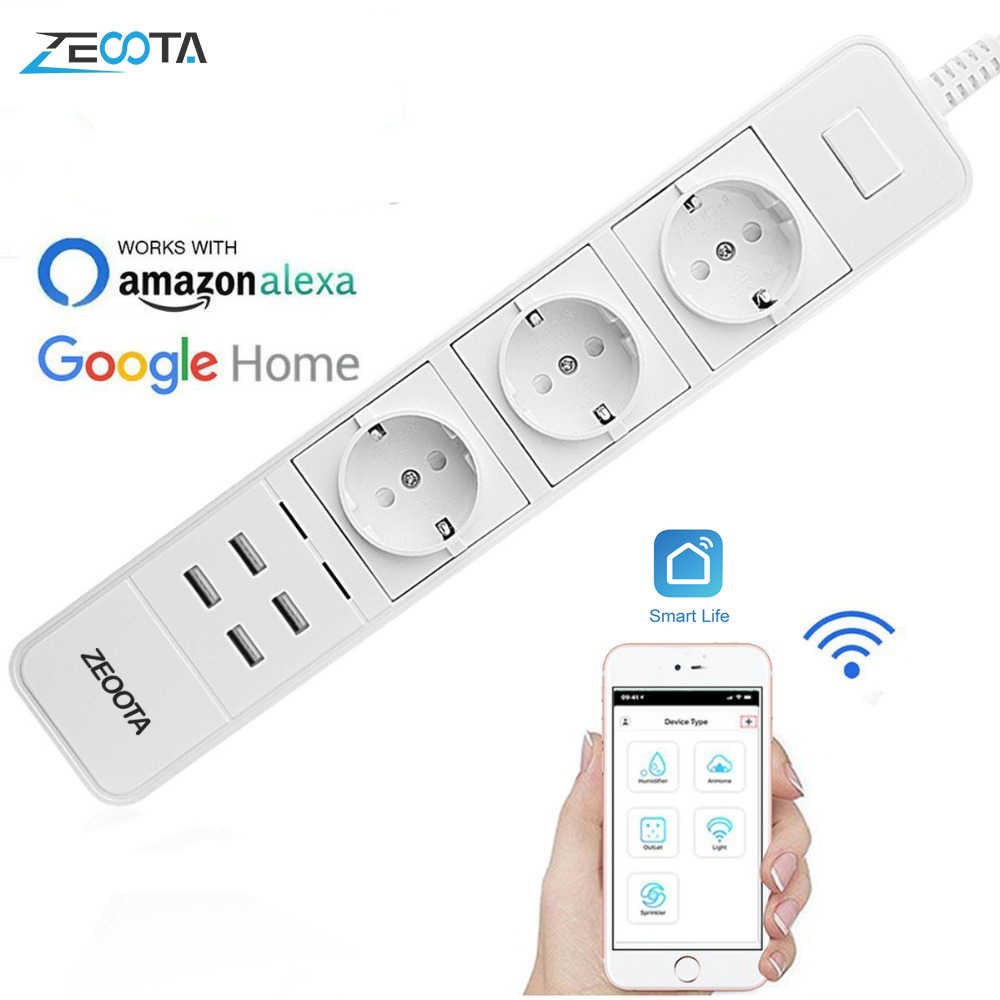Smart Wifi multiprise protection contre les surtensions prises multiples 4 Port USB minuterie télécommande vocale pour Amazon Echo Alexa Google Home