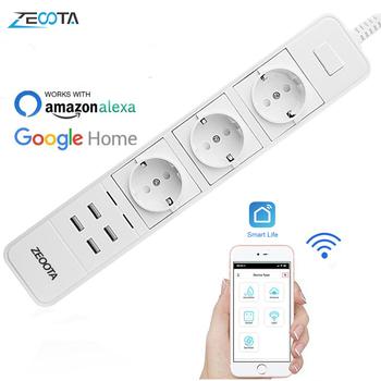 Inteligentne sterowanie zasilaniem przez wi-fi Strip Surge Protector wiele gniazd 4 Port USB Timer z pilotem do Amazon Echo Alexa Google Home tanie i dobre opinie Zeoota 1 8 m Standardowy uziemienie Gniazdo rozszerzenia 10A 16A 15 5W Pompa Ekspresowe Bundle1 Handlowych Przemysłowe