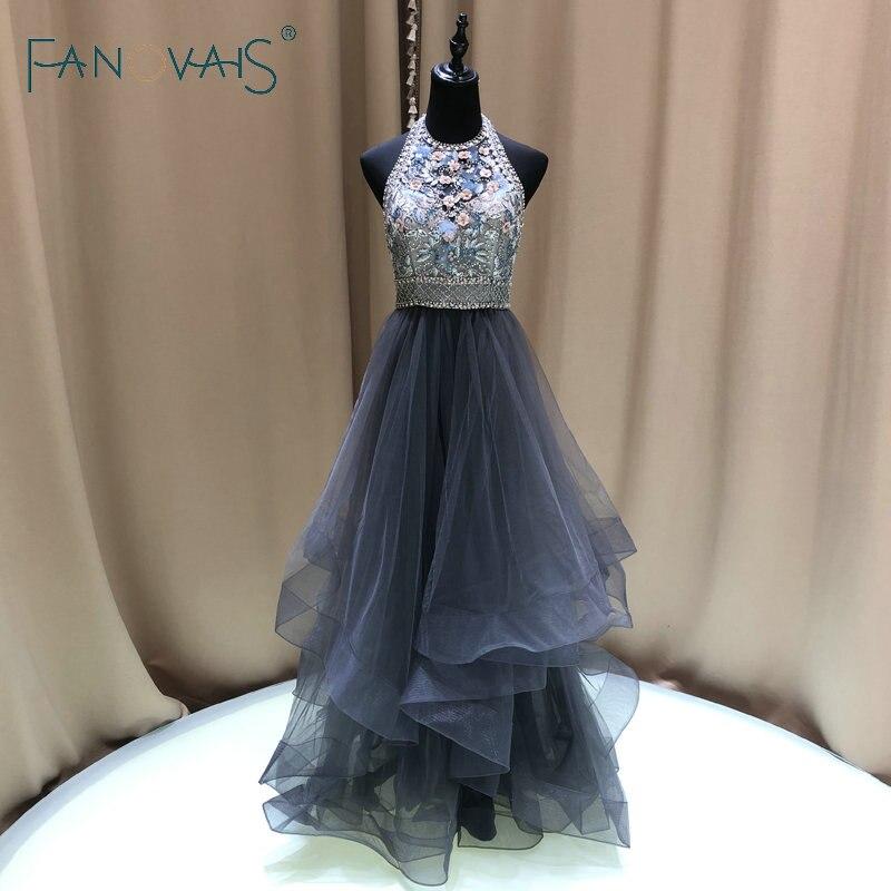 Licou perles complètes luxe robes de soirée en cristal élégant robe de bal pour les femmes Vestido de Fiesta volants robes de soirée