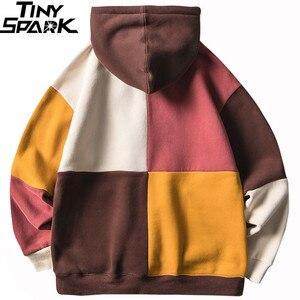 Image 2 - Hip Hop Hoodies Sweatshirt 2019 Streetwear Farbe Block Patchwork Hoodie Pullover Harajuku Männer Herbst Winter Fleece Hoodie Baumwolle