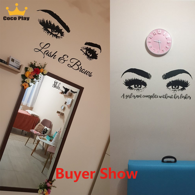 Beauty Salon Eye Lashes Live Love Wall Sticker Home Decoration Eyes Quotes Wallpaper Waterproof Wall Decoration Murals Decal 3