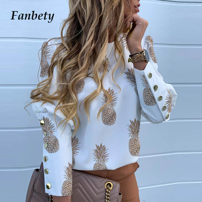 Elegant New Puff shoulder blouse shirts Metal Buttoned Pineapple print long sleeve tops