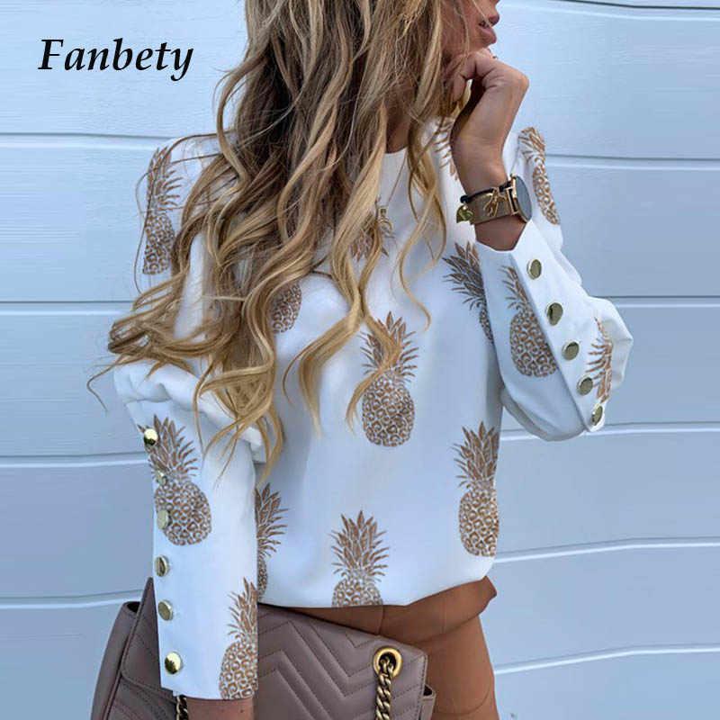 Elegante Nuovo Puff spalla camicetta shirt Office Lady Autunno In Metallo Con Bottoni Dettaglio Camicette delle donne Ananas stampa manica lunga top