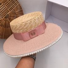 Cor de rosa correspondência pérola palha chapéu senhoras verão doce moda selvagem protetor solar férias sunhat