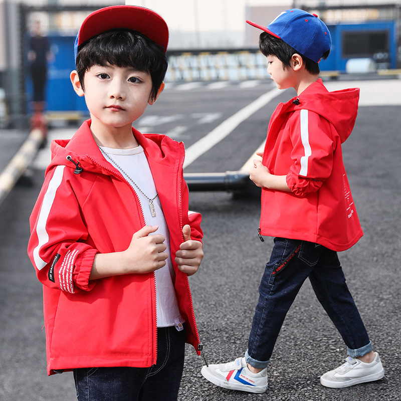 Boys Casual Cotton Jacket 2019 Autumn New Product Big Children's Webbing Letter Shirt Boy Kids Long Trench Zipper Windproof Coat|Jackets & Coats| |  - title=