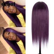Perruque Lace Front wig naturelle, cheveux humains, pre-plucked, Violet, blond miel, 4*4, Lace Closure, bon marché