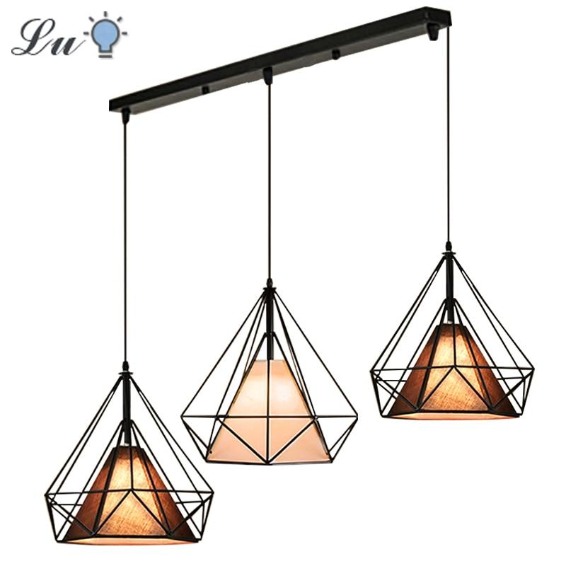 Nordic Modern Pendant Light Industrial Iron Cloth Lamps Shade Hanging Lamp Restaurant Diamond Art For Bathroom Lighting Fixtures