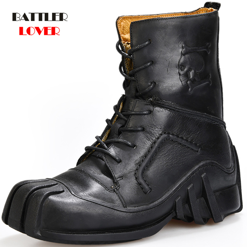 Men's Cowhide Genuine Leather Winter Boots Military Combat Boots Mens Gothic Skull Punk Motorcycle Martin Boots Hiking Footwear