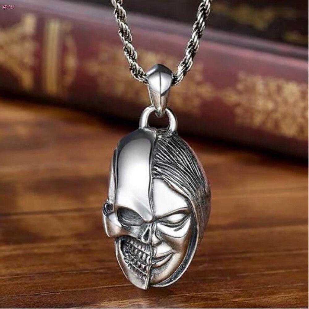 S925 argent fantôme crâne pendentif personnalité masculine marée hip-hop bijoux en argent pour les hommes de rue européens et américains
