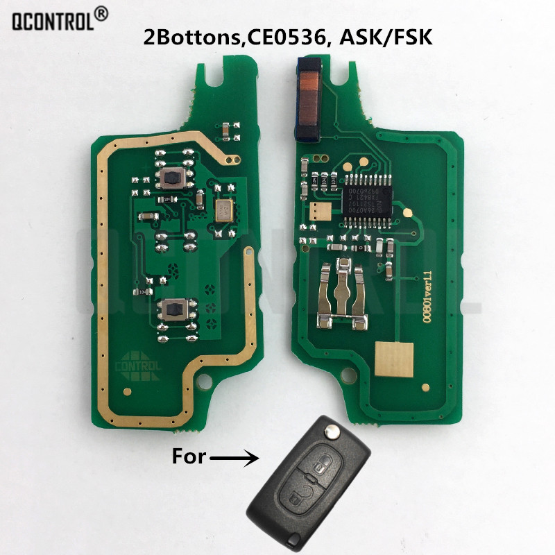 QCONTROL Remote Key Circuit Board For Citroen C2 C3 C4 C5 Berlingo Picasso ID46 (CE0536 ASK/FSK, 2 Buttons)