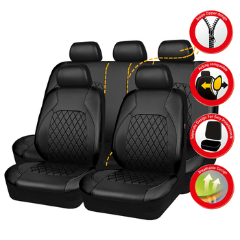 2021 PU Leather New Stype Universal Car Seat Covers Airbag Compatible WaterProof Automobile Interior Accessories Fit most cars