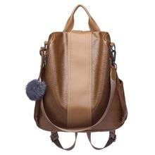 2019 Phụ Nữ Da Chống Trộm Lưng Cao Cấp Nữ Vintage Túi Sắc DOS Trường Túi Cho Bé Gái bagpack Nữ