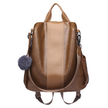2019 Women Leather Anti theft Backpacks High Quality Vintage Female Shoulder Bag Sac A Dos School Bags for Girls Bagpack Ladies