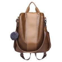 2019 kadın deri Anti theft sırt çantaları yüksek kaliteli Vintage kadın omuzdan askili çanta kese Dos okul çantaları kız sırt çantası bayanlar