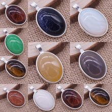 Wholsale Natural Stone Pendant 13 Colors Oval Shape Cabochon Opal Tiger Eye for Jewelry Making 40*26mm Free Shipping