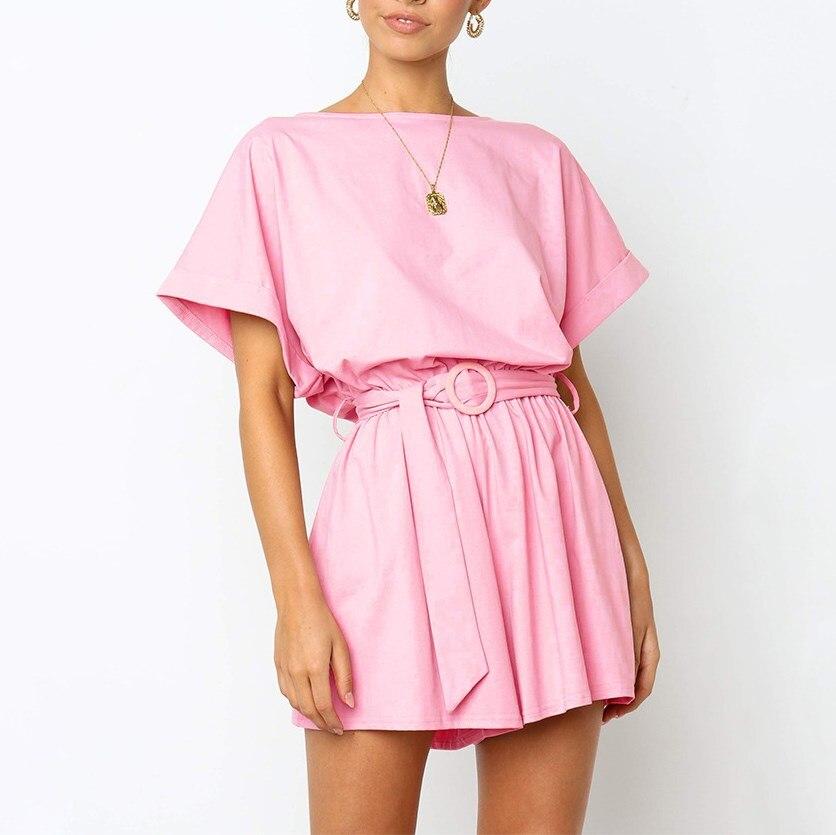 Open Back Overalls Linen Summer Shorts Jumpsuit Women Wide Leg Elastic Waist Short Sleeve Lace Up Playsuit