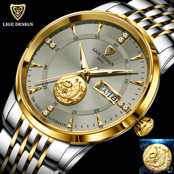 2021 LIGE New Fashion Wrist Watch Men Automatic Mechanical Tourbillon Stainless Steel Waterproof Business Men Watches Gift Clock