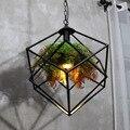 Ретро люстры для столовой металлический куб E27 светодиодный лампы Подвесная лампа для спальни цепочка подвеска Ресторан подвесная осветит...