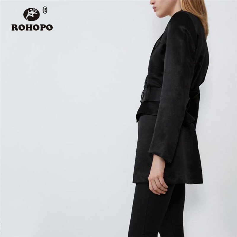 ROHOPO Notched Collar Waistband Black Stain Blazer Tunic Ladies Autumn Chic Party Soft Silky Outwear #2391