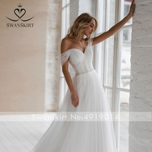 Image 3 - Swanskirt חוף קריסטל חתונה שמלת 2020 כבוי כתף אשליה אונליין מתוקה נסיכת הכלה שמלת Vestido דה novia NR12