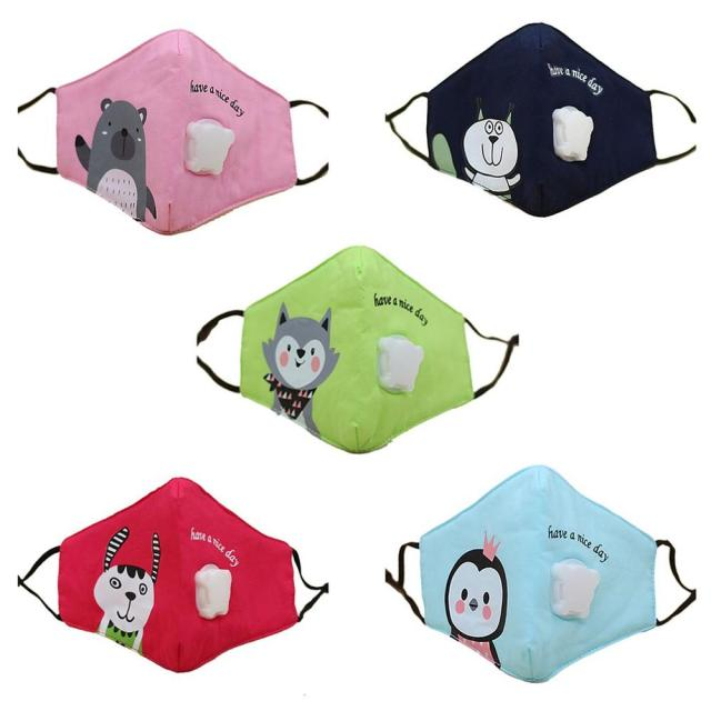 Children Cotton Anti Dust Mouth Mask Activated Carbon Filter Windproof With Breathing Valve Face Masks 3