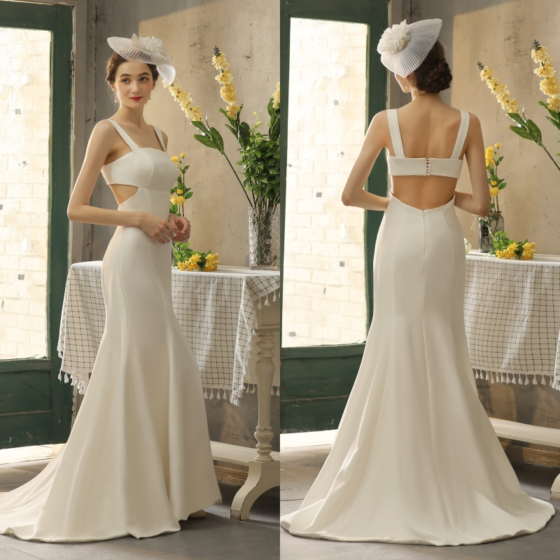 REAL PHOTO Simple Soft Satin Bridal Wedding Dress Bride Gown Factory Price Trumpet Mermaid With Train