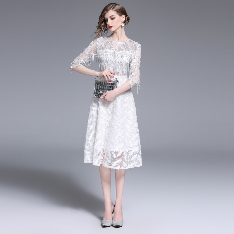 Français élégant femmes Noble luxe robe Zomerjurk Dames 2019 Midi d'été robe De soirée Ropa Mujer Vestidos De Verano K6373
