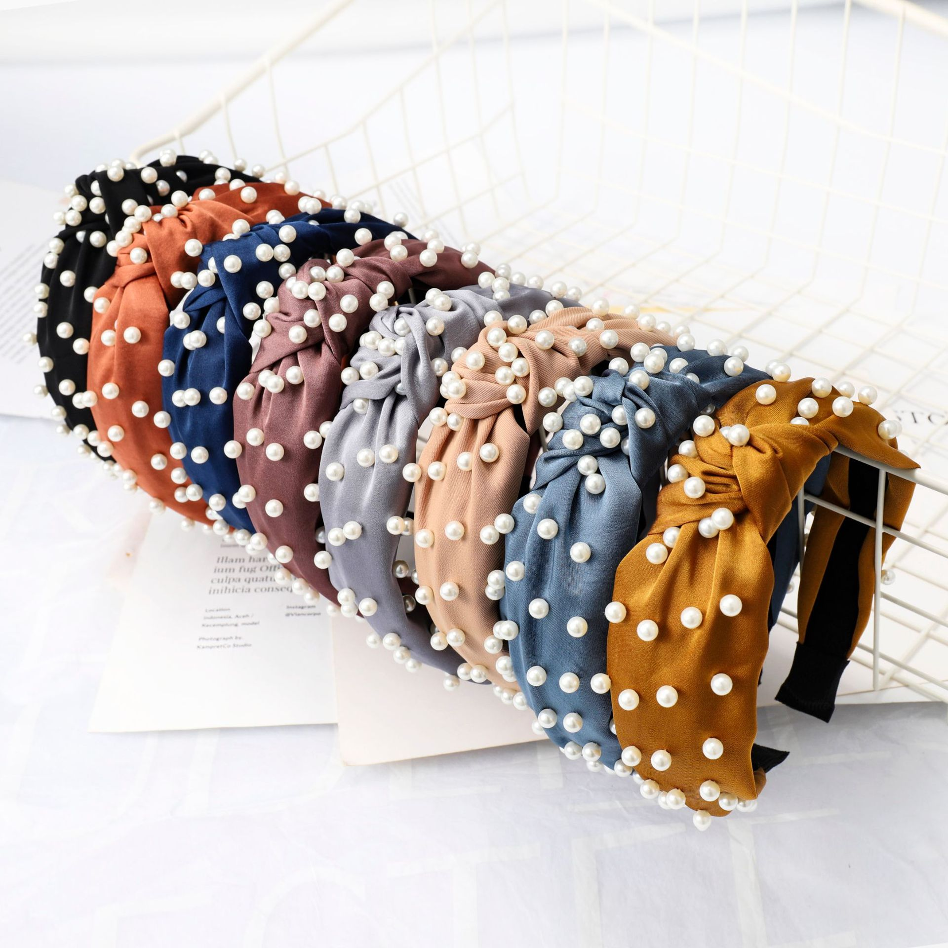 Hair Accessories Korean Pearl Headbands for Women Bezel Simple Knotted Hair Hoop Women Lady Hairband For Girls