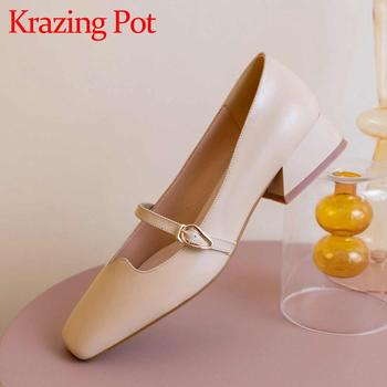 Krazing pot Mary Janes genuine leather square toe med heels Chinese style dress daily wear fashion buckle strap spring pumps L17