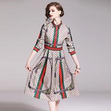 Модное приталенное платье с цветочным принтом в европейском и американском стиле