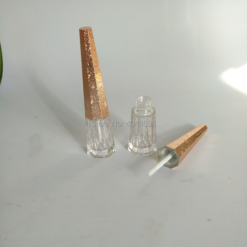 Empty Lip Gloss Tubes Clear Cone Shaped Silver Crack Gold Empty Cosmetic Containers Refillable 5 ML Lipgloss Wand Tubes 10/25pcs