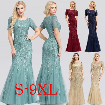 Sexy Maxi Dress Mermaid Sequined O-Neck Short Sleeve Ladies Elegant Bodycon Dress Woman Party Night Gowns Zomerjurk Dames 2020