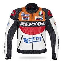 Duhan Repsol Motocross Jacken PU Leder Motorrad Racing Jacke Orange Blau Winddicht mit 5 stücke protektoren