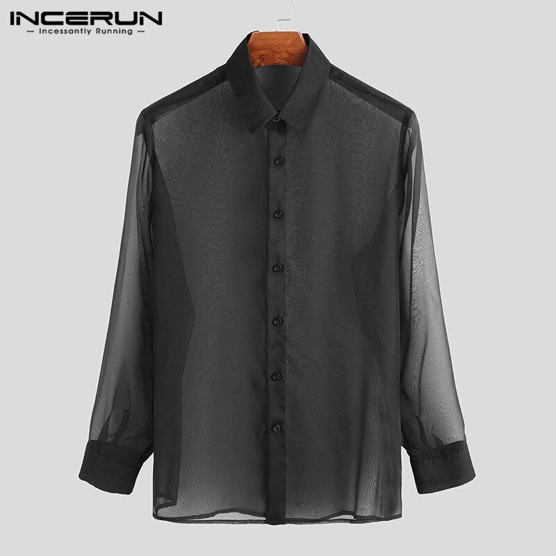 INCERUN Mesh Shirt Men Lapel See Through Sexy Stylish Button 2020 Camisa Long Sleeve Transparent Party Nightclub Men Shirt S-3XL