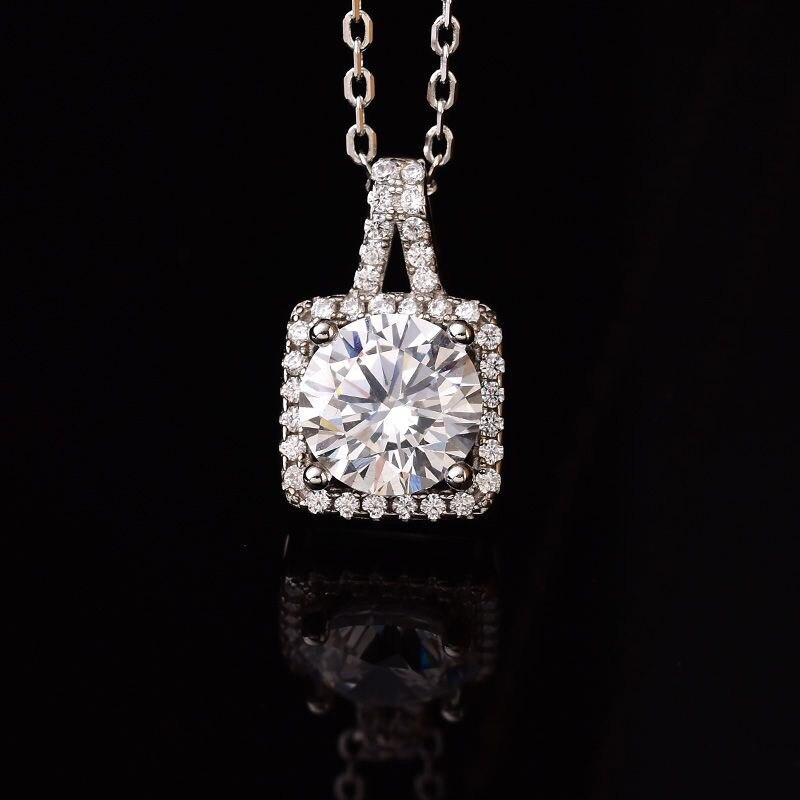 Kkmall Store rond 2.00ct D VVS carré design pendentifs de luxe bijoux petite amie cadeau 925 argent colliers