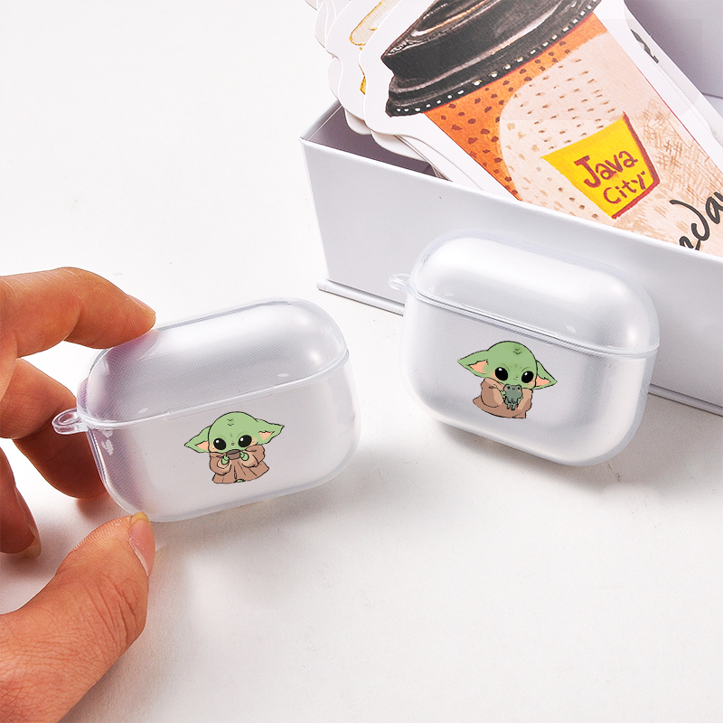 Cartoon Baby Yoda Earphone Case For Apple Airpods Pro Clear Soft