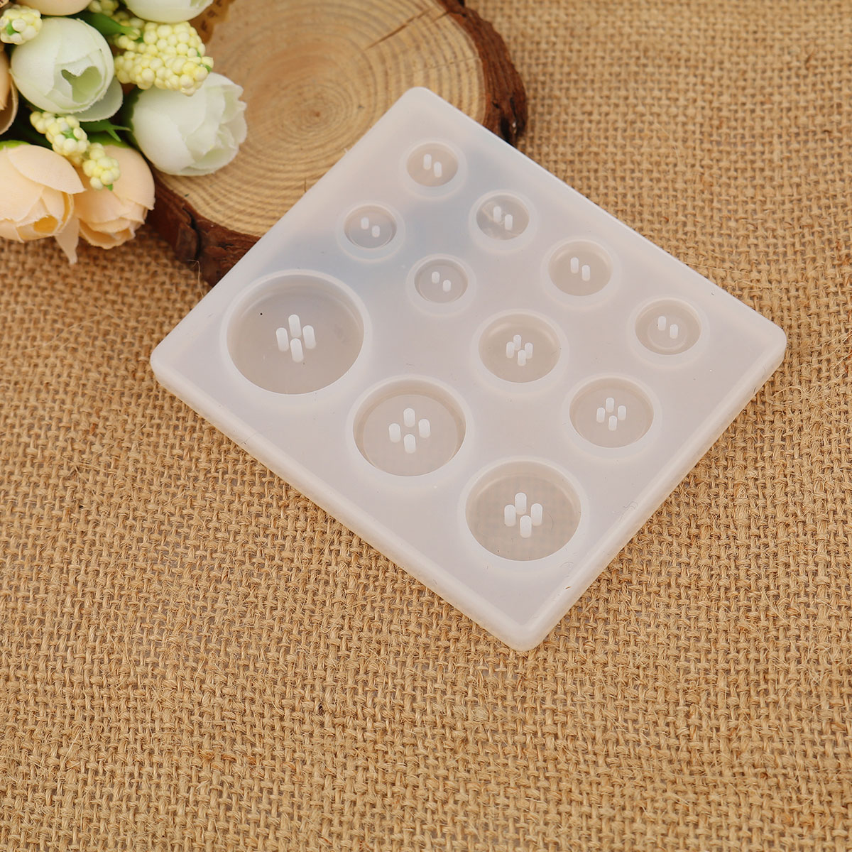 Silicone Resin Mold For Jewelry DIY Making Rectangle White Button Pattern Jewelry Making Silicone Resin Mold